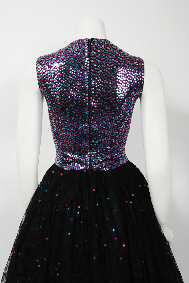 1955 Norman Norell Couture Documented Iridescent Sequin Chantilly-Lace Dress 5