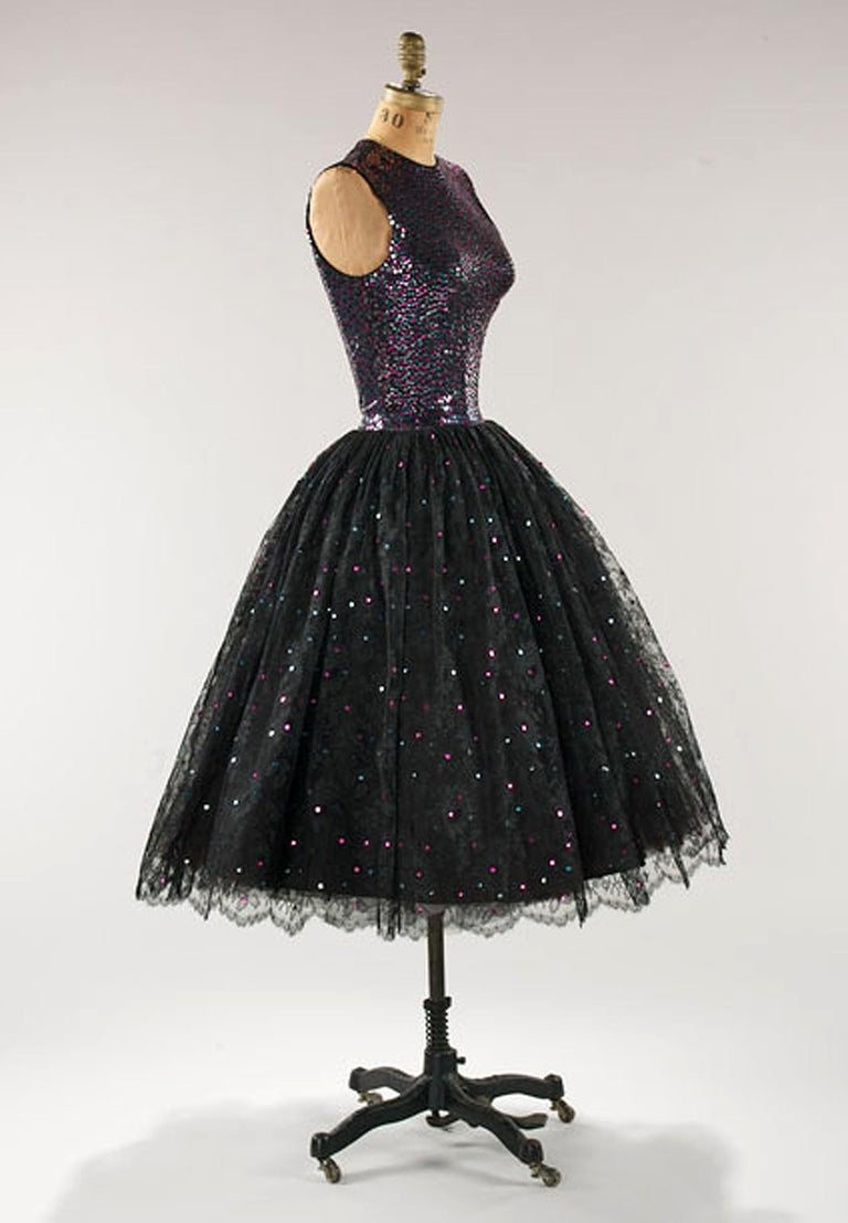 Black 1955 Norman Norell Couture Documented Iridescent Sequin Chantilly-Lace Dress