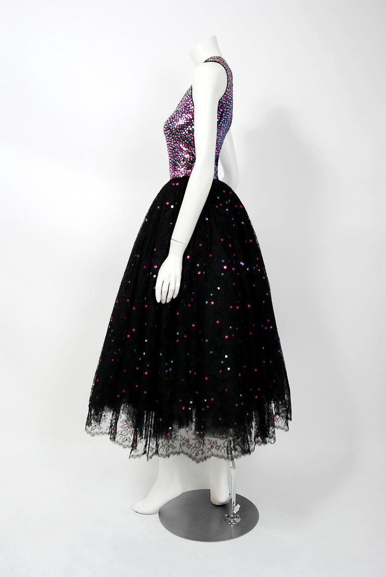 1955 Norman Norell Couture Documented Iridescent Sequin Chantilly-Lace Dress 1