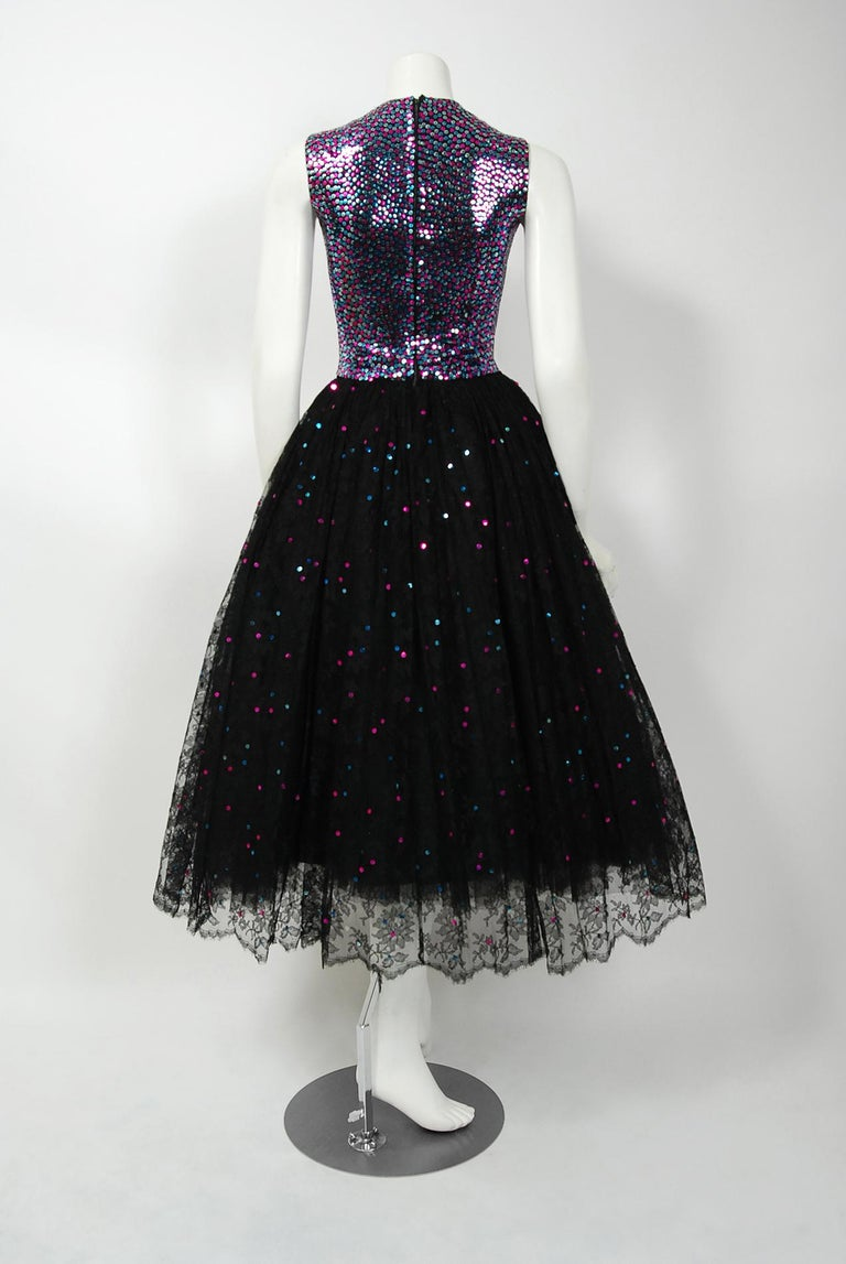 1955 Norman Norell Couture Documented Iridescent Sequin Chantilly-Lace Dress 4