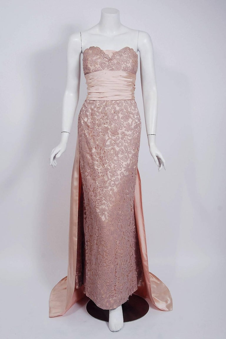 Brown Vintage 1952 Pierre Balmain Couture Pale-Pink Silk Lace Strapless Trained Gown  For Sale