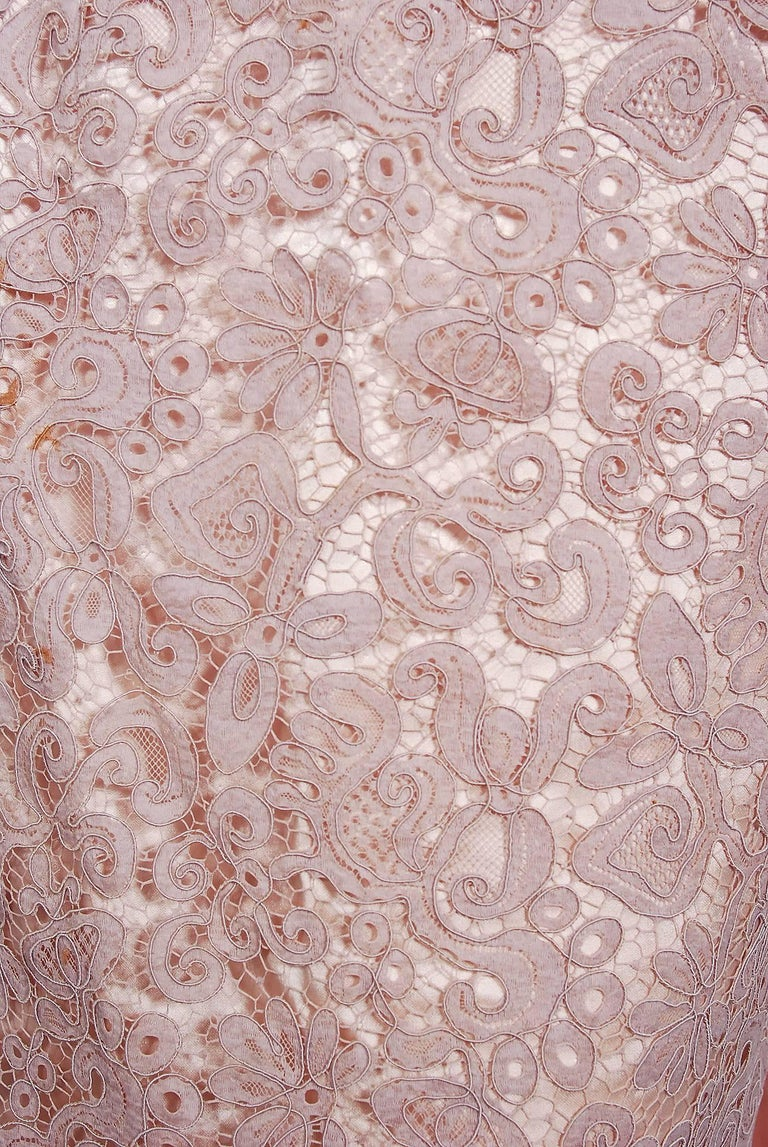 Vintage 1952 Pierre Balmain Couture Pale-Pink Silk Lace Strapless Trained Gown  For Sale 1