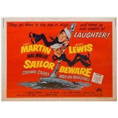 "1952 Unframed Dean Martin & Jerry Lewis ""Sailor Beware"" Movie Poster"