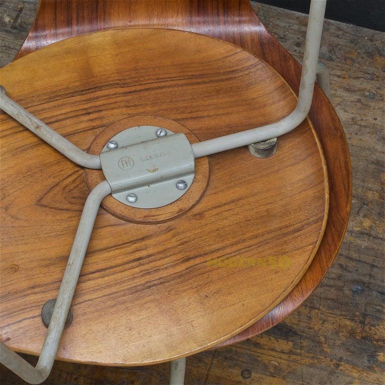 1953 Arne Jacobsen Tri-Leg Teak Ant Chairs Fritz Hansen Danish Cabinmodern 4