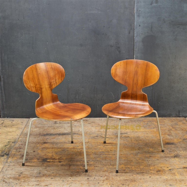 Scandinavian Modern 1953 Arne Jacobsen Tri-Leg Teak Ant Chairs Fritz Hansen Danish Cabinmodern
