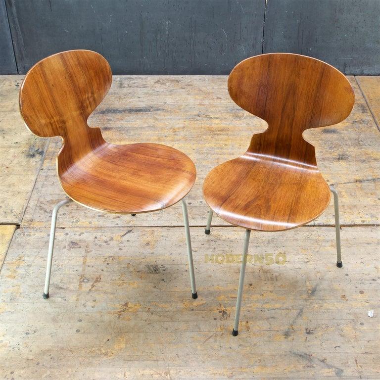 Oiled 1953 Arne Jacobsen Tri-Leg Teak Ant Chairs Fritz Hansen Danish Cabinmodern