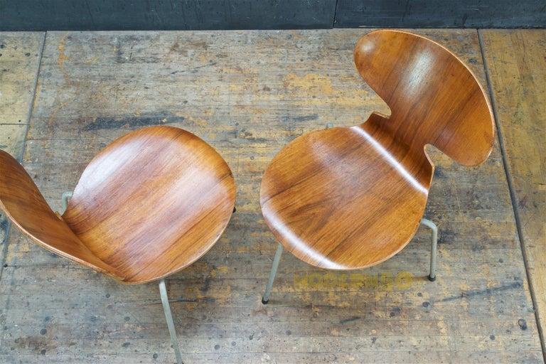 1953 Arne Jacobsen Tri-Leg Teak Ant Chairs Fritz Hansen Danish Cabinmodern In Distressed Condition In Washington, DC