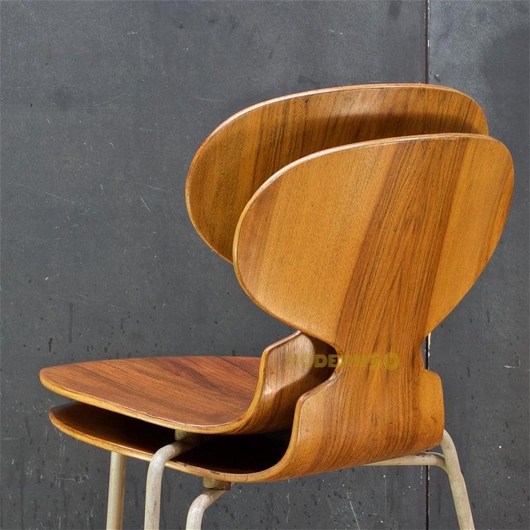1953 Arne Jacobsen Tri-Leg Teak Ant Chairs Fritz Hansen Danish Cabinmodern 1
