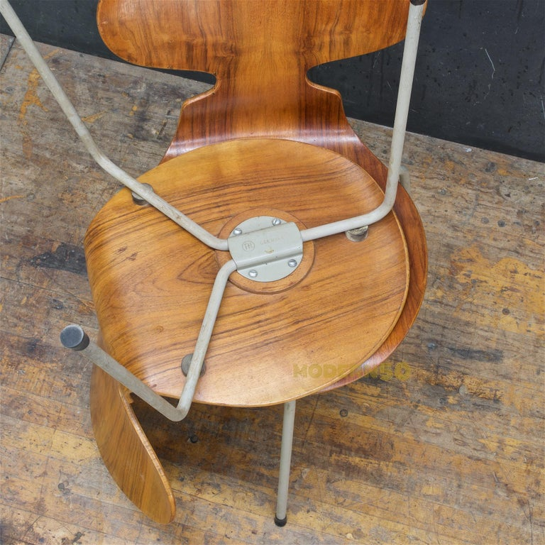 1953 Arne Jacobsen Tri-Leg Teak Ant Chairs Fritz Hansen Danish Cabinmodern 2