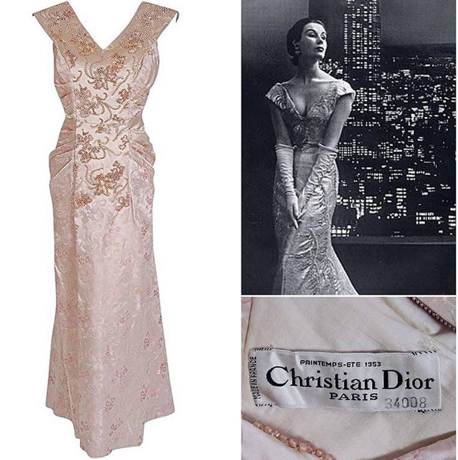 1953 Christian Dior Haute Couture Beaded Champagne Pink Floral Print