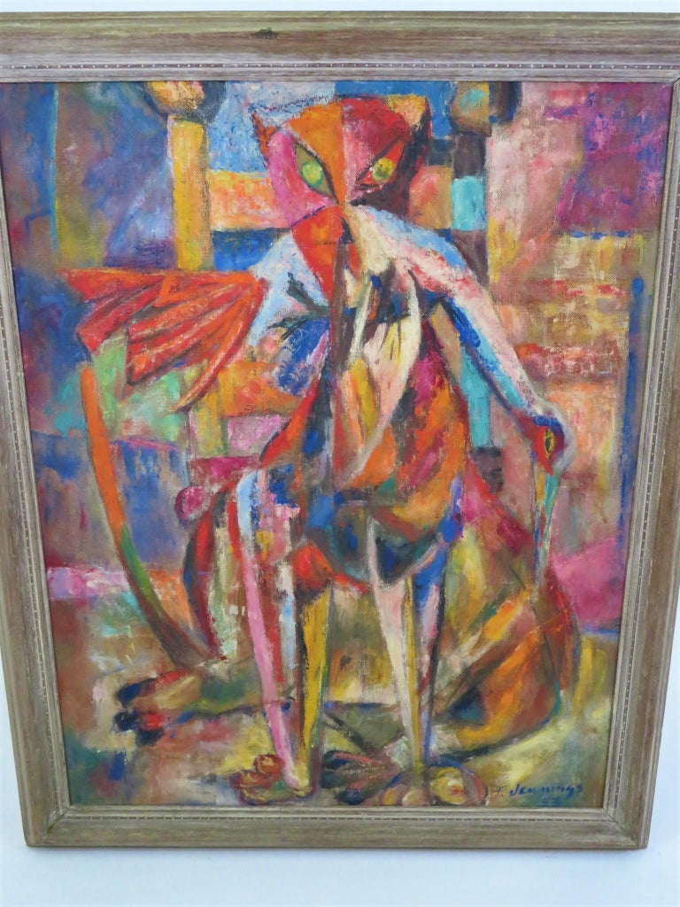 Francis Jennings (b. Wilmington, DE 1910 - 1993 NYC) painted this framed surreal cubist oil on board in 1953 while residing in NYC. In vivid colors, Jennings depicted a large cat with a large bird in his mouth, probably bringing indoors as a gift to