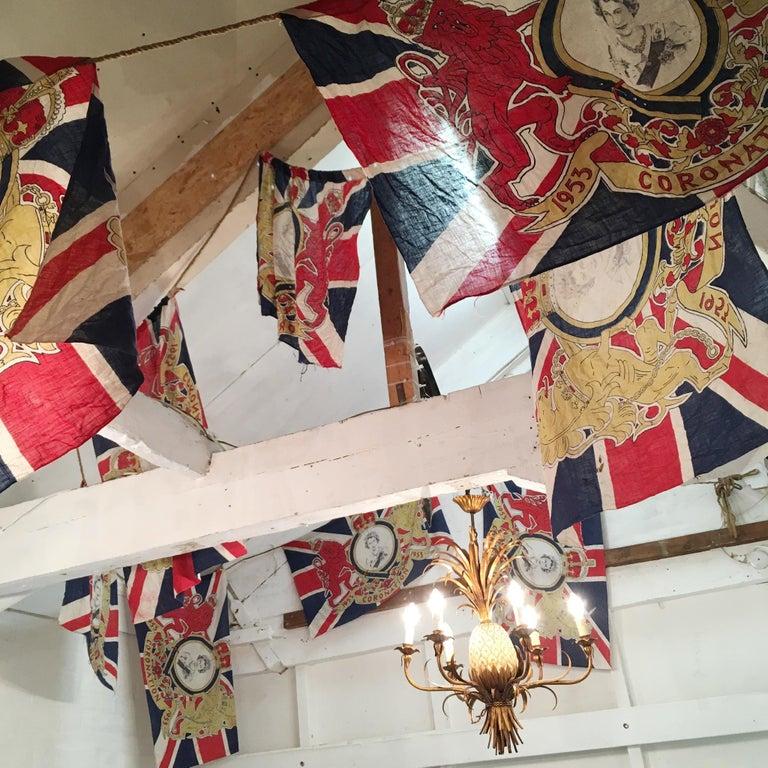 1953 Royal Coronation Flag Bunting 13.5 Metres For Sale 5