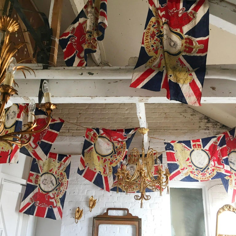 A Rare And Historical Royal Coronation Flag Bunting  From The Coronation Of HRH Queen Elizabeth 2nd, June 2nd 1953  Due To The Size This Bunting Would Have Been Used Strung Across A Road Or Over A Building For One Of The Many Street Parties Held