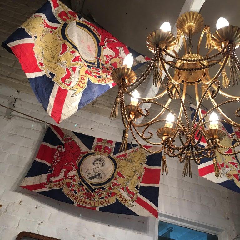Mid-Century Modern 1953 Royal Coronation Flag Bunting 13.5 Metres For Sale