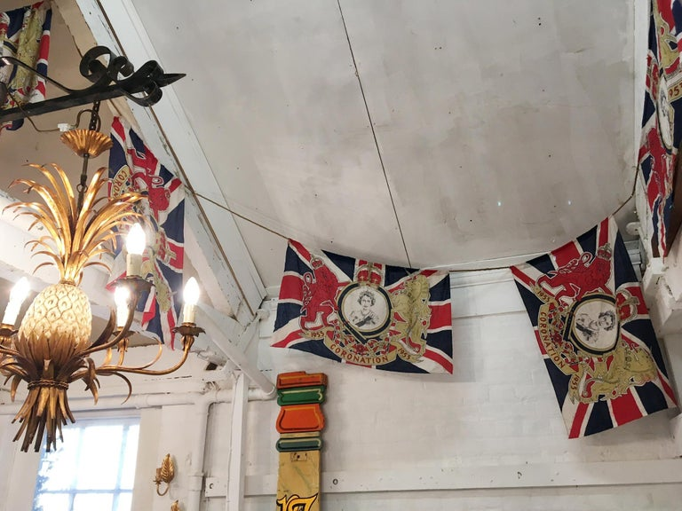 British 1953 Royal Coronation Flag Bunting 13.5 Metres For Sale