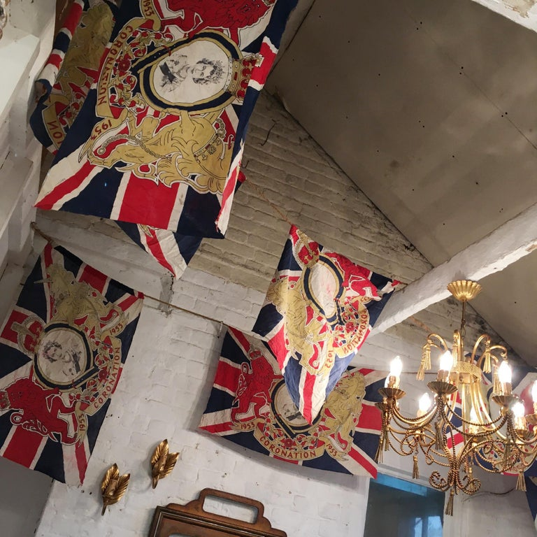 20th Century 1953 Royal Coronation Flag Bunting 13.5 Metres For Sale