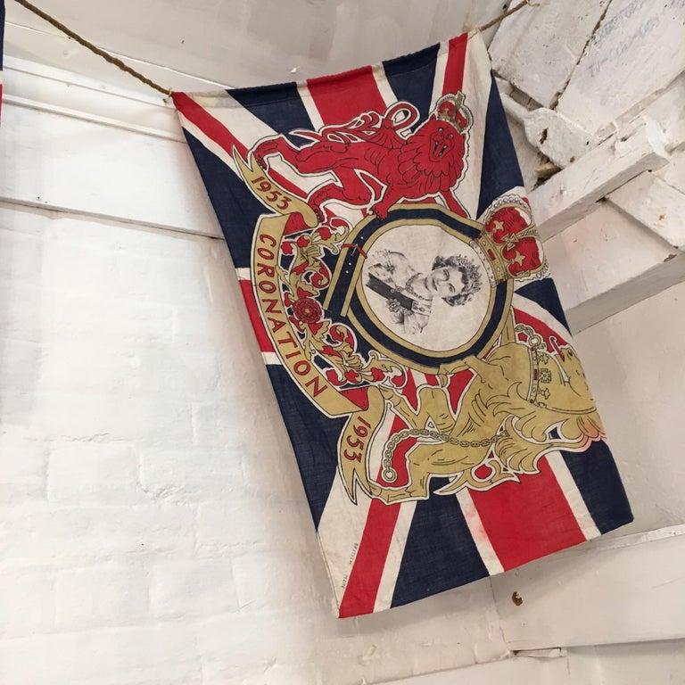 Cotton 1953 Royal Coronation Flag Bunting 13.5 Metres For Sale