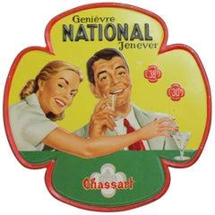1953 Zinn Schild für Belgischen Genever - Gin - Juniper