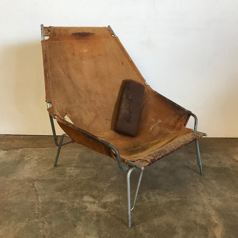 Mid-Century Modern 1954, Erik Ole Jorgesen, Easy Lounge Chair J 361 in Suede by Bovirke For Sale