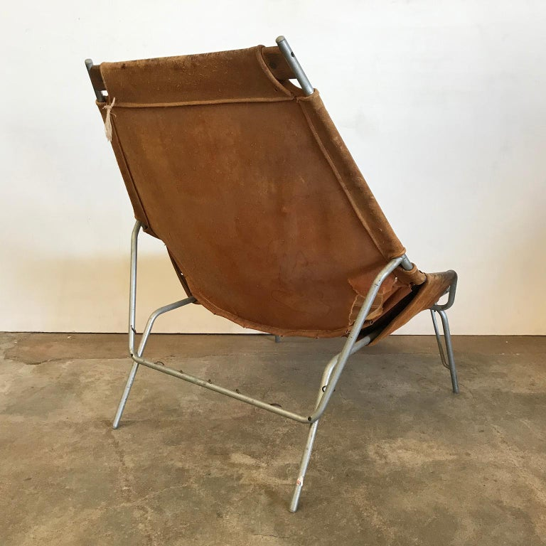 1954, Erik Ole Jorgesen, Easy Lounge Chair J 361 in Suede by Bovirke In Fair Condition For Sale In IJmuiden, North Holland