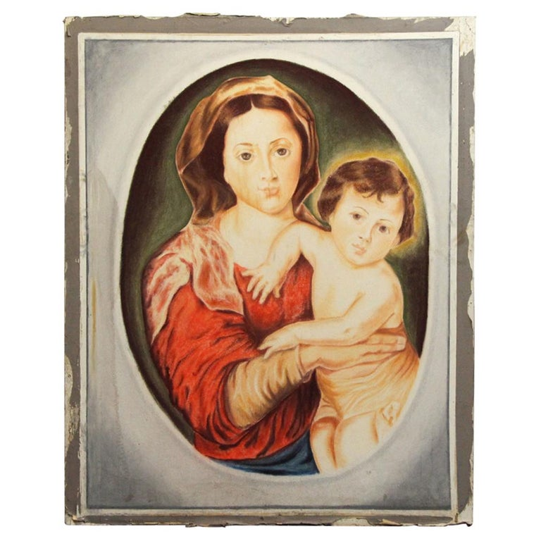 1954 Madonna and Child Painted on Sheet Rock from the Billy Rose Estate Chapel For Sale