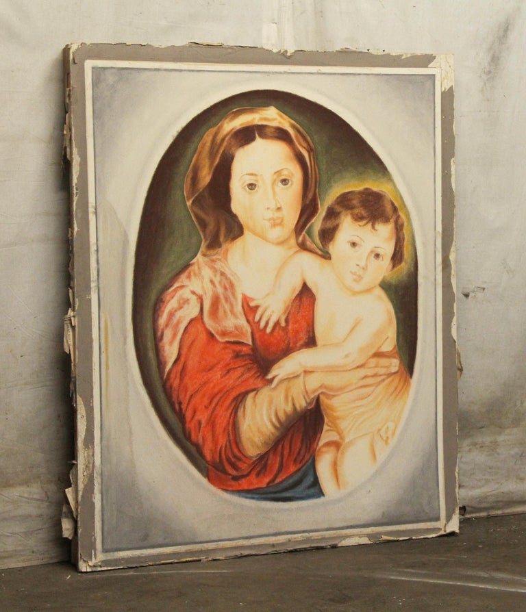 Large painting of the famous Madonna and child done on sheet rock. The back is framed with wood. This was salvaged from rose hill, the Tudor Mansion of American impresario Billy rose which had a chapel constructed onsite in 1954. This can be seen at