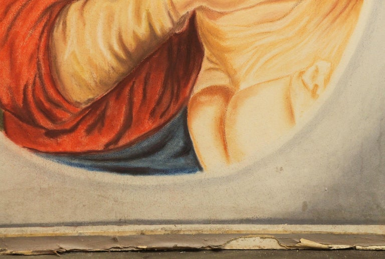 1954 Madonna and Child Painted on Sheet Rock from the Billy Rose Estate Chapel In Good Condition For Sale In New York, NY