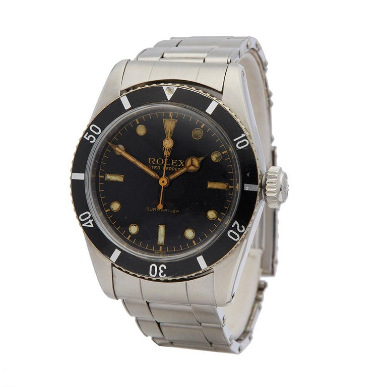 1954 Rolex Submariner Stainless Steel 6538 Wristwatch