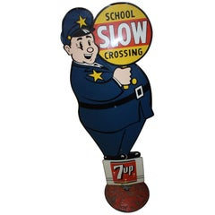 1955 7-UP Soda School Crossing Guard Safety Tin Sign