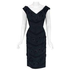 1955 Antonelli Italian Couture Black Embroidered Applique Silk Cocktail Dress