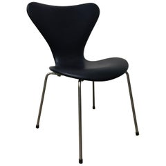 1955, Arne Jacobsen, Early Vintage Black Faux Leather 3107 Butterfly Chair