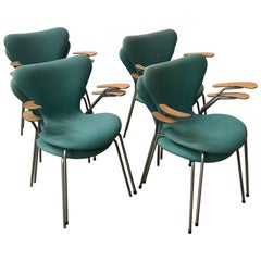 1955, Arne Jacobsen, Eight Turquoise to Upholster 3207 Butterfly Armchairs