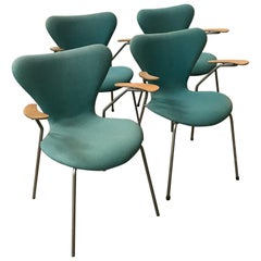 1955, Arne Jacobsen, Set of Four Turquoise Upholstered 3207 Butterfly Armchairs