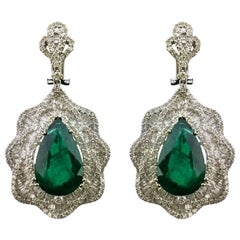 19.55 Carat Pear Shape Emerald and Diamond Dangling Earring