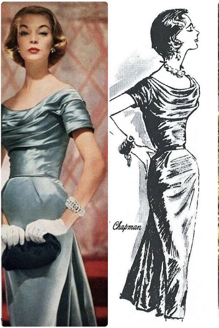 Such a seductive and timeless 1955 documented cocktail dress from the iconic Ceil Chapman designer label. Perfect for any upcoming party; you can't help but feel feminine in this beauty! The garment is fashioned from a stunning mid-weight lined