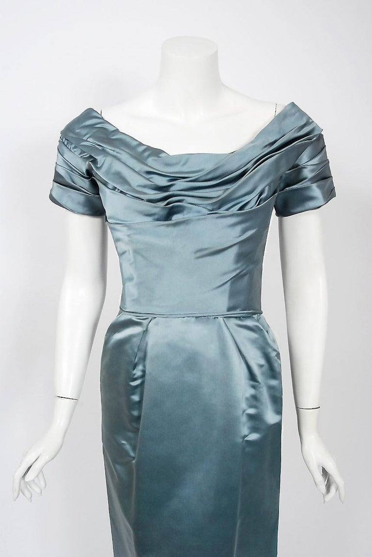 Gray 1955 Ceil Chapman Documented Steel-Blue Ruched Satin Fishtail Cocktail Dress   For Sale