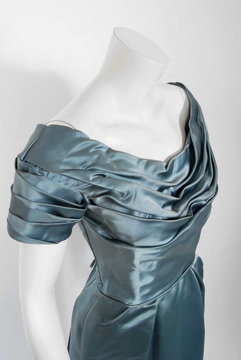 1955 Ceil Chapman Documented Steel-Blue Ruched Satin Fishtail Cocktail Dress   In Good Condition For Sale In Beverly Hills, CA