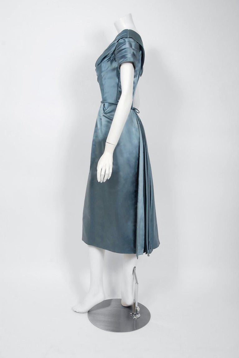 Women's 1955 Ceil Chapman Documented Steel-Blue Ruched Satin Fishtail Cocktail Dress   For Sale