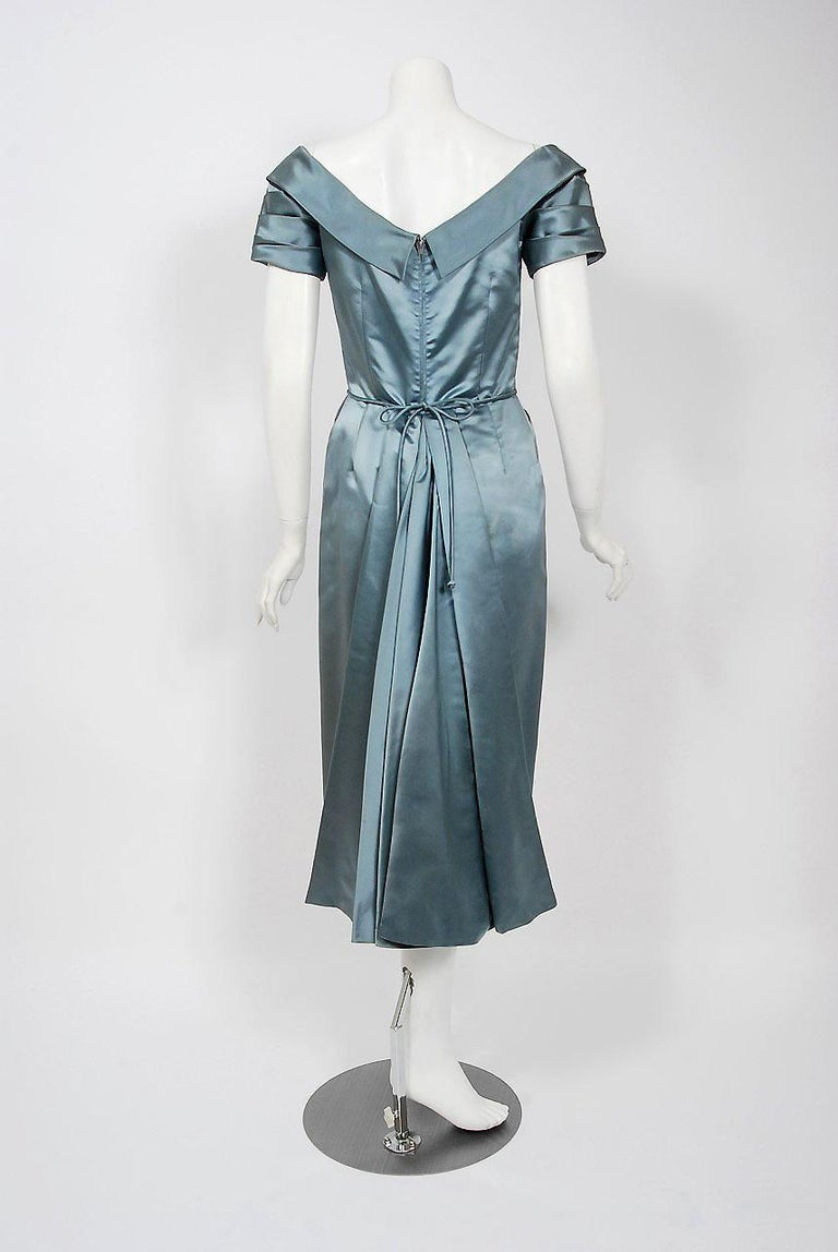 1955 Ceil Chapman Documented Steel-Blue Ruched Satin Fishtail Cocktail Dress   For Sale 1