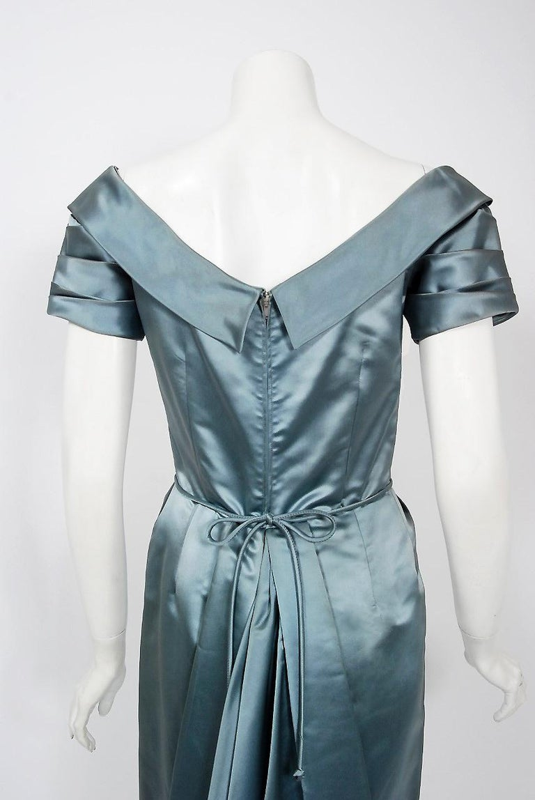 1955 Ceil Chapman Documented Steel-Blue Ruched Satin Fishtail Cocktail Dress   For Sale 2