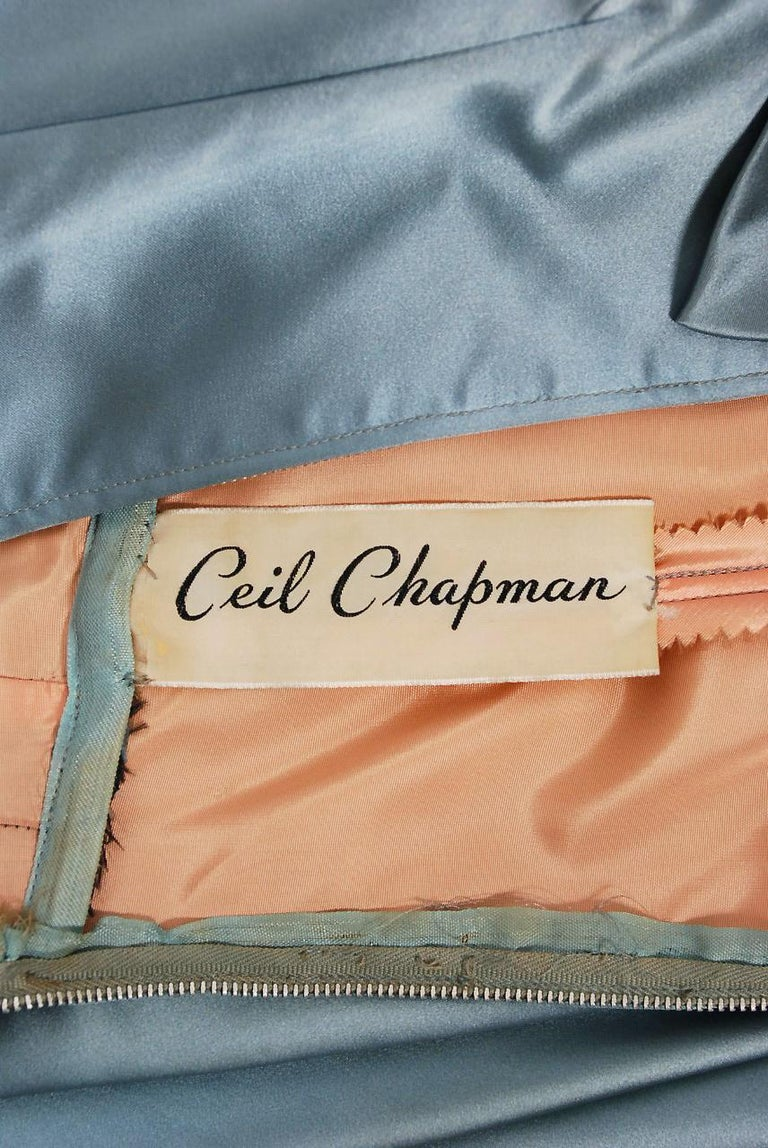 1955 Ceil Chapman Documented Steel-Blue Ruched Satin Fishtail Cocktail Dress   For Sale 3
