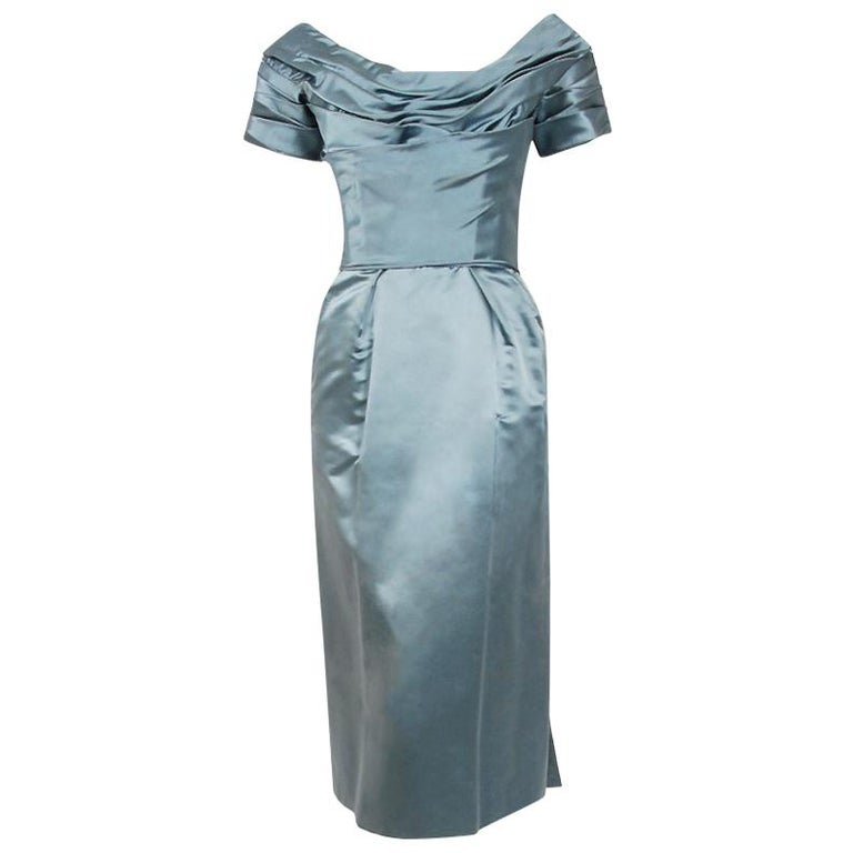 1955 Ceil Chapman Documented Steel-Blue Ruched Satin Fishtail Cocktail Dress   For Sale