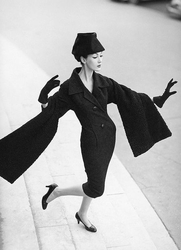 Black 1955 Christian Dior Haute Couture Documented Charcoal-Gray Wool Sheath Dress