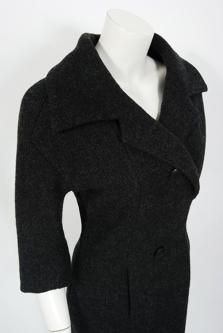 Women's 1955 Christian Dior Haute Couture Documented Charcoal-Gray Wool Sheath Dress
