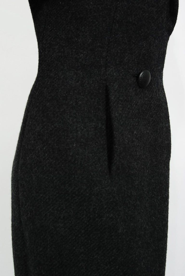 1955 Christian Dior Haute Couture Documented Charcoal-Gray Wool Sheath Dress  1