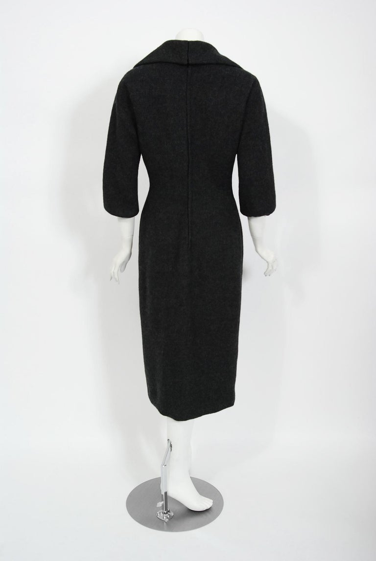 1955 Christian Dior Haute Couture Documented Charcoal-Gray Wool Sheath Dress  2