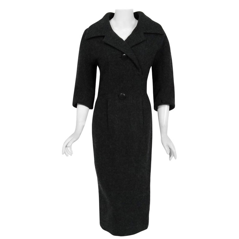 1955 Christian Dior Haute Couture Documented Charcoal-Gray Wool Sheath Dress