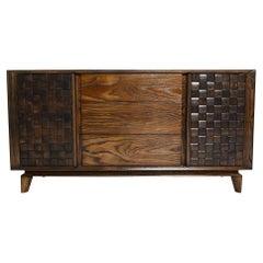 1955 Classic Woven Oak Wood Credenza Buffet by PAUL LASZLO for Brown Saltman