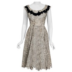 1955 Elizabeth Arden Couture Ivory Lace & Black Velvet Scalloped New Look Dress