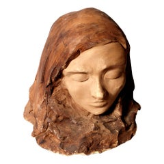 1955 Head of Woman in Painted Clay Signed TZ55 Attributed to Tono Zancanaro